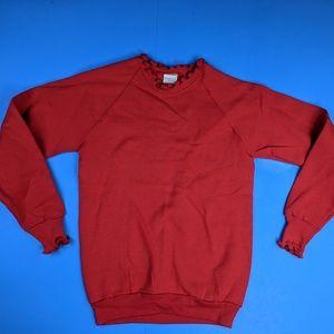 Vtg Womens Ruffled Red Sweatshirt 50/50 Small